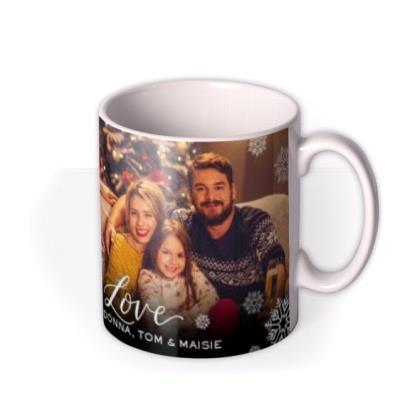 Merry Christmas Snowflakes Photo Upload Mug