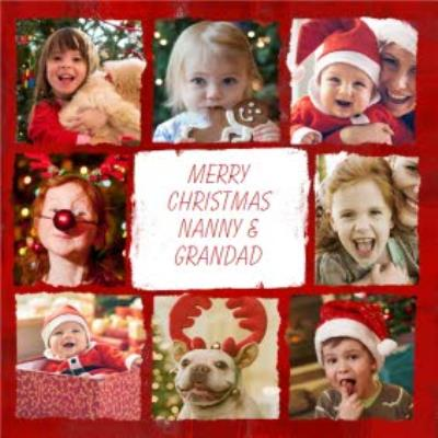 Red And White Grid Personalised Photo Upload Christmas Card For Grandparents