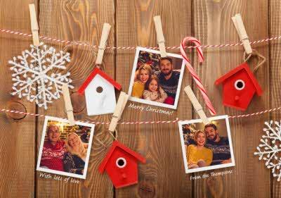 Snapshots On Pegs Personalised Photo Upload Merry Christmas Card