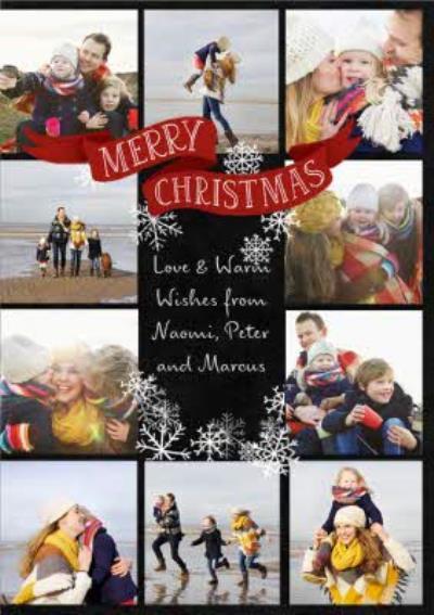 Snowflake Collage Photo Upload Christmas Card