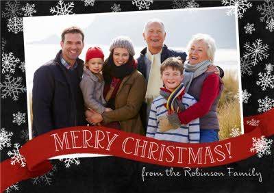 Snowflake Photo Upload Christmas Landscape Card