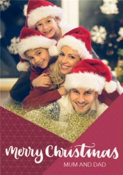 Sparkly Geometric Christmas Photo Upload Card