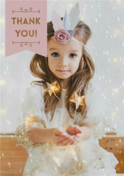 Fairy Lights Photo Upload Thank You Christmas Postcard