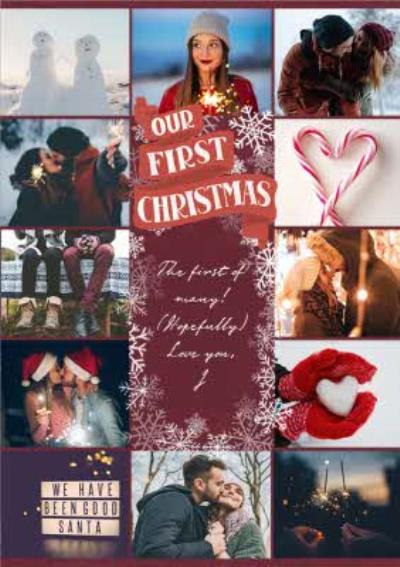 Our First Christmas Snowy Collage Photo Upload Card