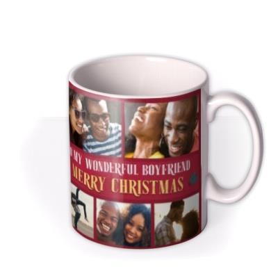 To My Wonderful Boyfriend Multiple Photo Upload Christmas Mug