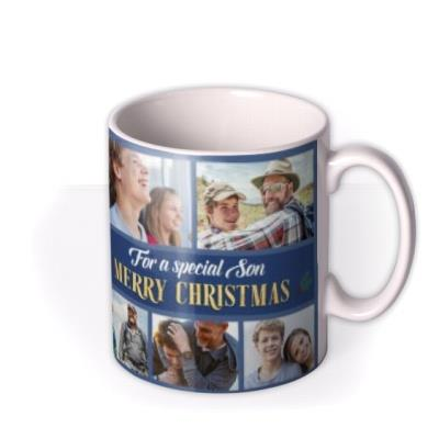 For A Special Son Multiple Photo Upload Christmas Mug