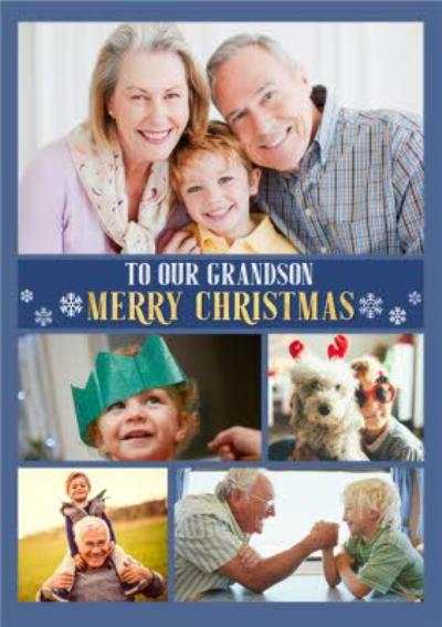 To Our Grandson Multiple Photo Upload Christmas Card