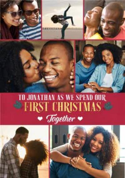 Our First Christmas Together Multiple Photo Upload Christmas Card