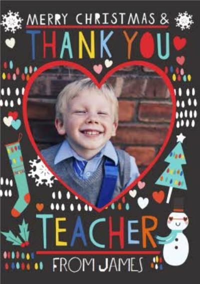 Photo Upload Merry Christmas  Teacher Card