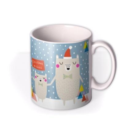 Merry Christmas Wishes Bears Photo Upload Mug