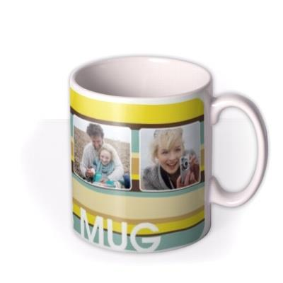 Retro Stripes Photo Upload Mug