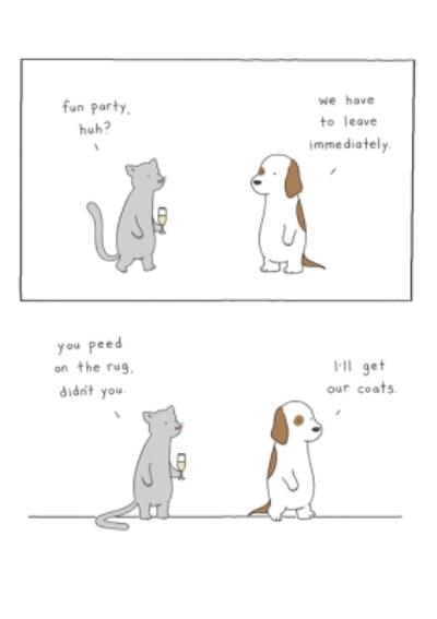 Modern Funny Illustration Cat Dog Party Peed On The Rug Card