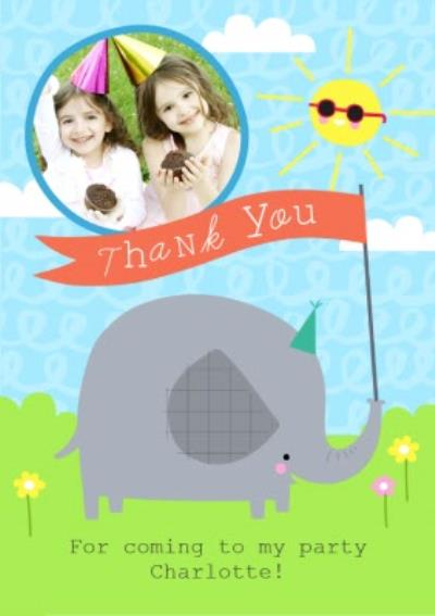 Baby Elephant Thanks For Coming To My Party Card
