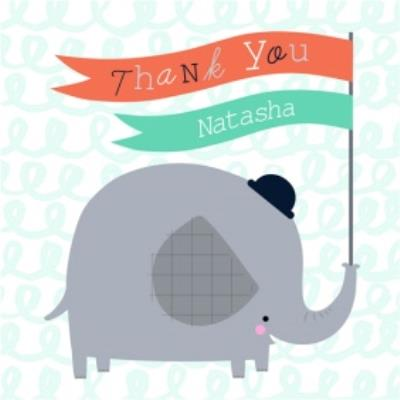 Cartoon Elephant With Flag Personalised Thank You Card