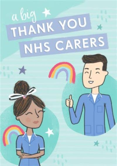 Raspberry Fizz A Big Thank You NHS Carers Illustrated Thank You Card
