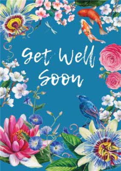 Floral Japenese Get Well Soon Card