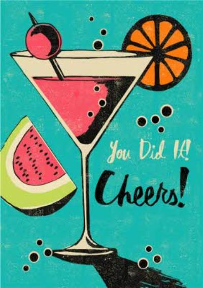 Cocktail You Did It Cheers Congratulations Card