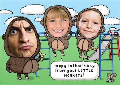 From Your Little Monkeys Personalised Photo Upload Greetings Card