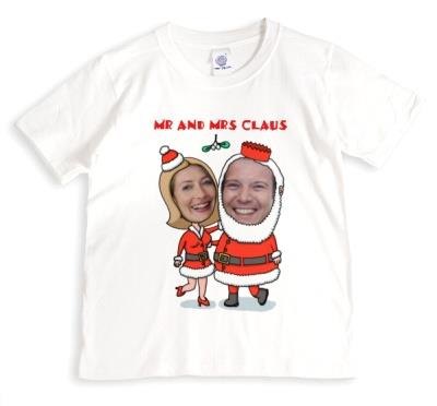 Christmas Mr And Mrs Claus Photo Upload T-shirt