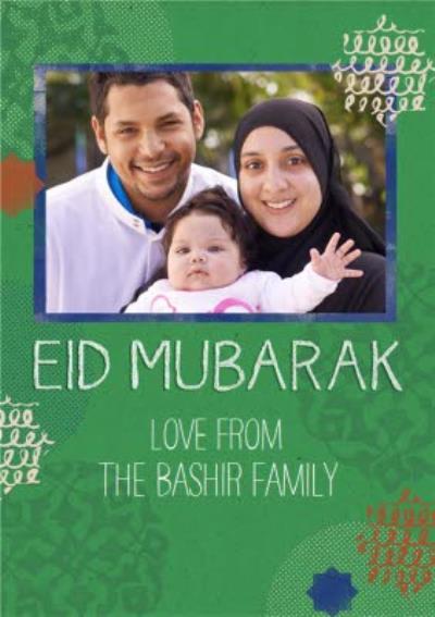 Green Print Personalised Photo Upload Eid Mubarak Card