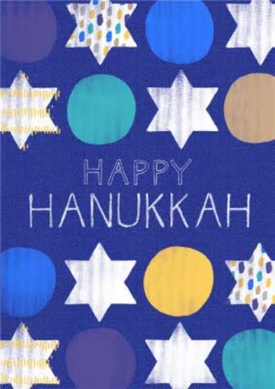 Painted Stars Of David Happy Hanukkah Card