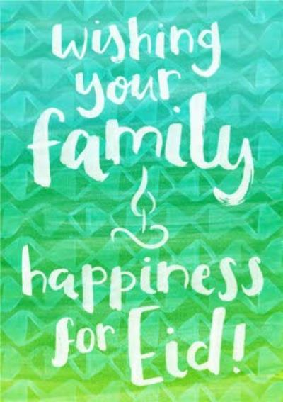 Wishing Your Family Happiness For Eid Personalised Card