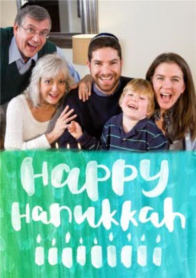 Bright Watercolour Personalised Happy Hanukkah Photo Card