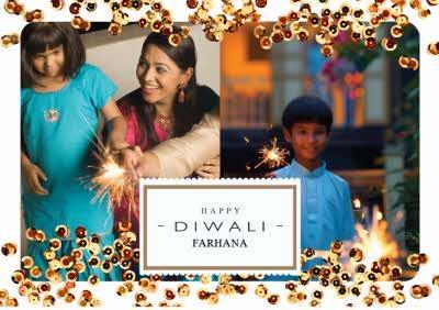 Sparkle Double Photo Upload Personalised Happy Diwali Card