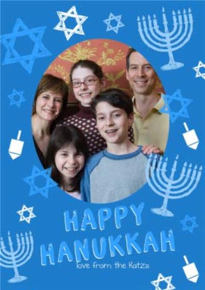 Personalised Happy Hanukkah From The Family Photo Card