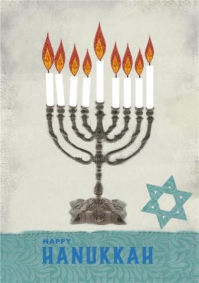 Candelabra And Star Of David Personalised Happy Hanukkah Card