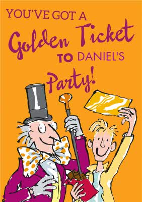 Willy Wonka Youve Got A Golden Ticket Birthday Invitation