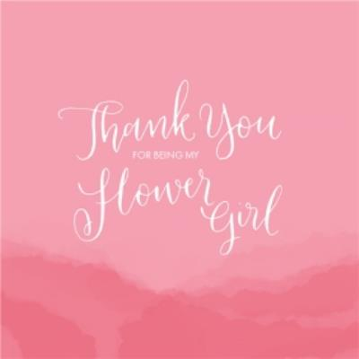 Pink Rolling Hills Personalised Thank You For Being My Flower Girl Card