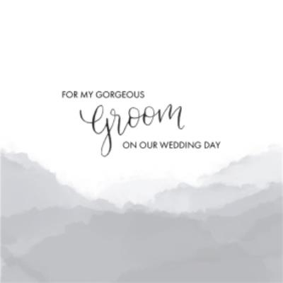 White And Grey Rolling Hills Personalised Wedding Day Card For Groom