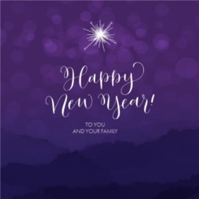 Bright Purple Happy New Year Card