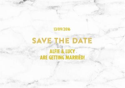 Metallic Gold And Marble Save The Date Wedding Cards