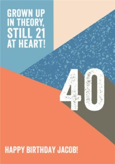 Grown Up in theory still 21 at heart! retro 40th Birthday Card