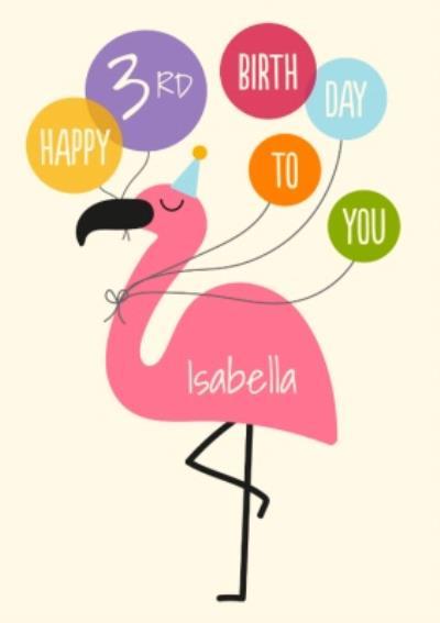 Cute Flamingo Personalised Age Birthday Card