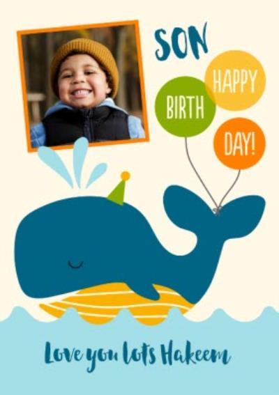 Whale Son Happy Birthday Photo Upload Card
