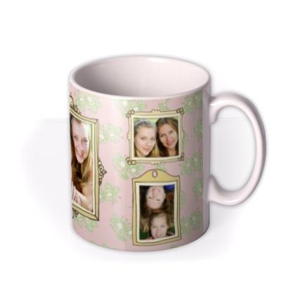Wall Of Photo Frames On Pink Floral Wallpaper Personalised Photo Upload Mug