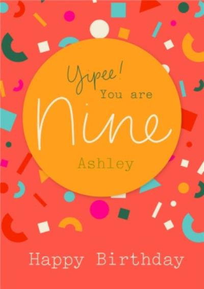Typographic Calligraphy Lettering Nine 9th Birthday Card