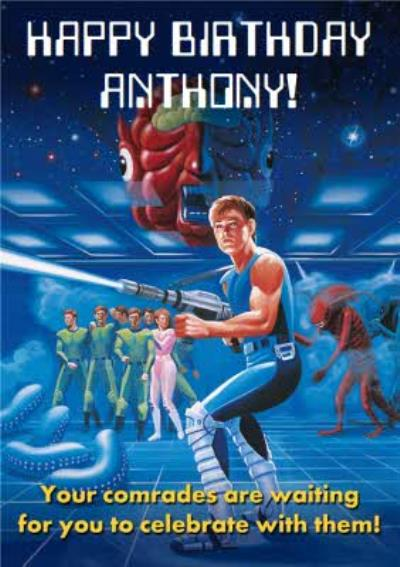 Sega Alien Syndrome Your Comrades Are Waiting For You To Celebrate With Them Birthday Card