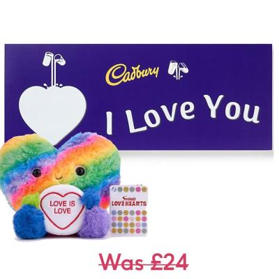 Rainbow Heart Toy & Cadbury Chocolate Gift Set