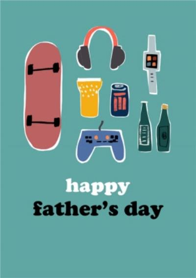 So Groovy Illustrated Modern Gaming Skating Music Happy Fathers Day