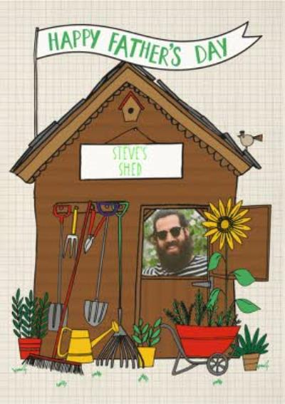 Garden Shed Happy Fathers Day Photo Upload Card