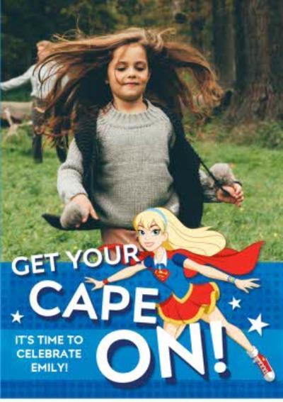 Supergirl Birthday photo upload and activity card