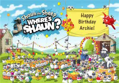 Shaun The Sheep Where's Shaun Birthday Card