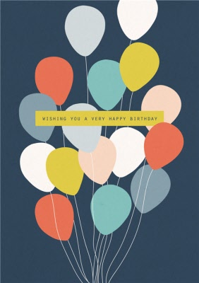 "Modern Fun Male /""80th/"" Birthday Card ~ Stars /& Balloons"