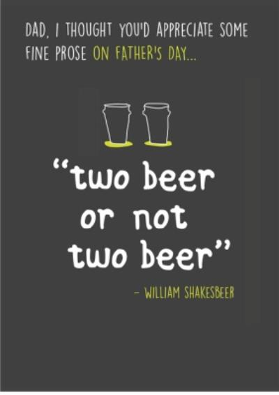 Beer Prose Happy Father's Day Card