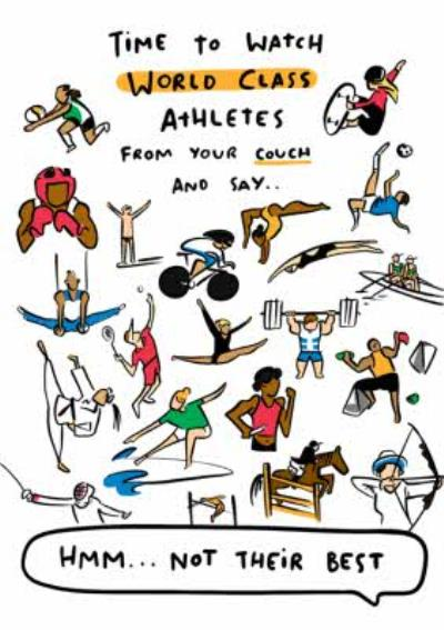 Funny Olympics Time To Watch World Class Athletes Birthday Card