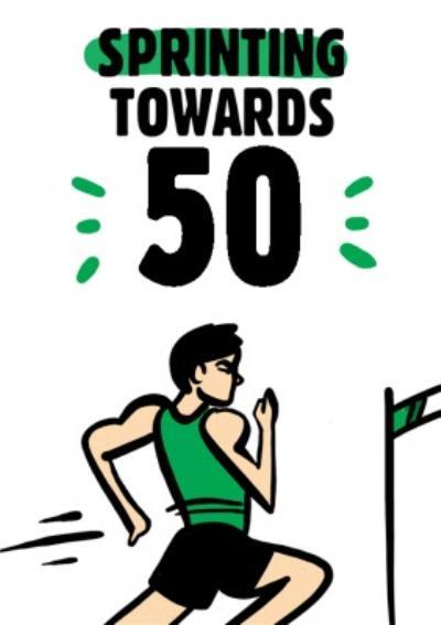 Olympic Male Sprinter 50th Birthday Card
